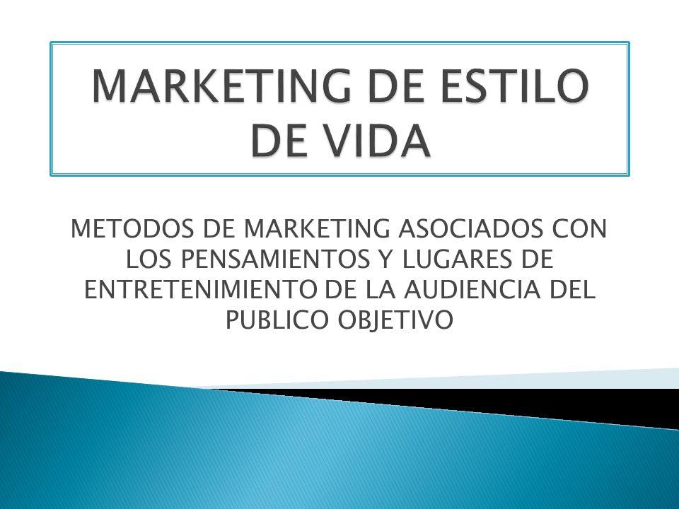 METODOS DE MARKETING ASOCIADOS CON LOS PENSAMIENTOS Y LUGARES DE ENTRETENIMIENTO DE LA AUDIENCIA DEL PUBLICO OBJETIVO