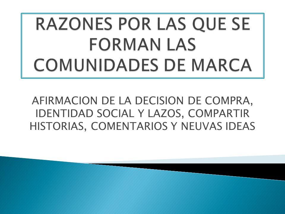 AFIRMACION DE LA DECISION DE COMPRA, IDENTIDAD SOCIAL Y LAZOS, COMPARTIR HISTORIAS, COMENTARIOS Y NEUVAS IDEAS