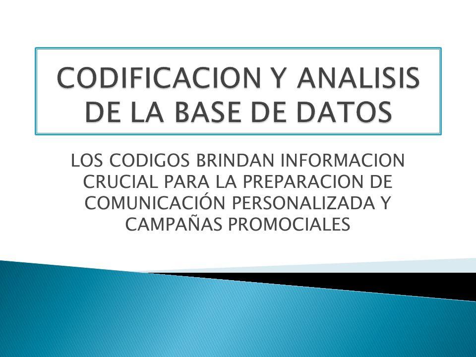 LOS CODIGOS BRINDAN INFORMACION CRUCIAL PARA LA PREPARACION DE COMUNICACIÓN PERSONALIZADA Y CAMPAÑAS PROMOCIALES