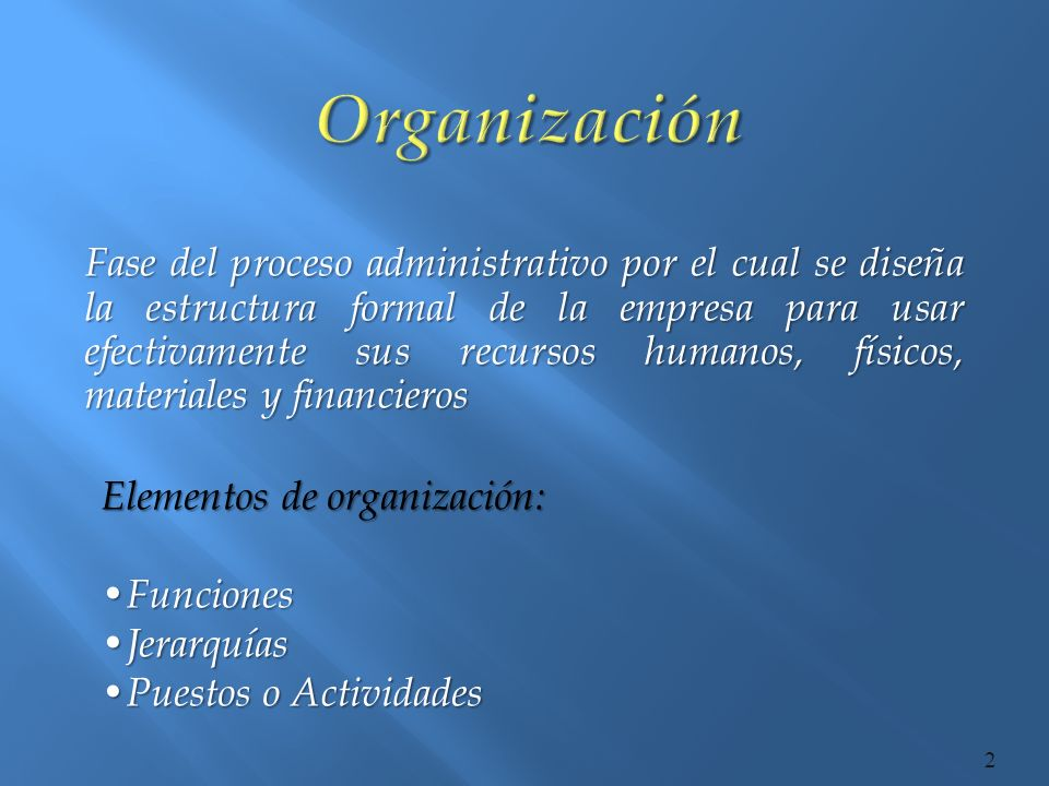 Fase del proceso administrativo por el cual se diseña la estructura formal de la empresa para usar efectivamente sus recursos humanos, físicos, materi