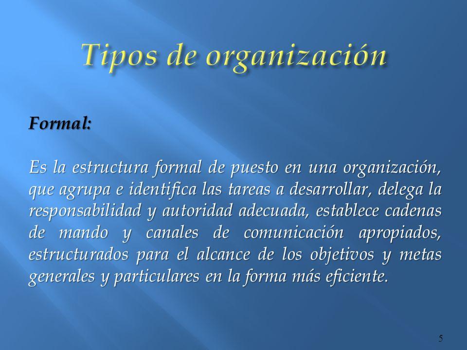 Informal: Constituye una red de relaciones interpersonales, no establecidas ni requeridas por la organización formal, pero que existen entre los miembros de una organización a medida que estos se asocian para satisfacer necesidades individuales y grupales.