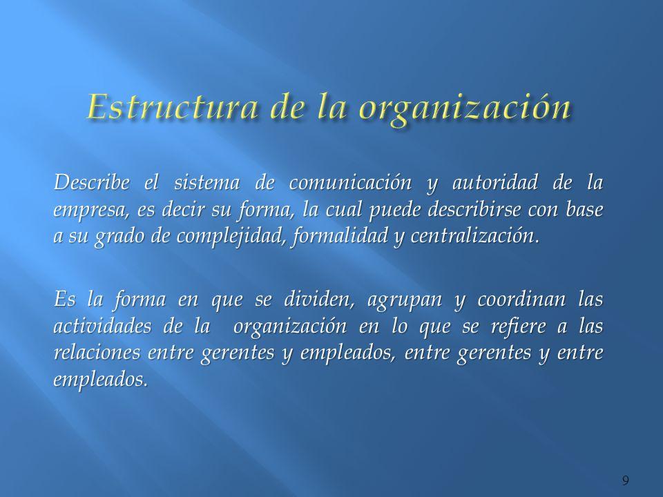 Complejidad: indica si la estructura esta compuesta por muchos o pocos niveles jerárquicos, unidades y órganos administrativos, actividades o puestos.
