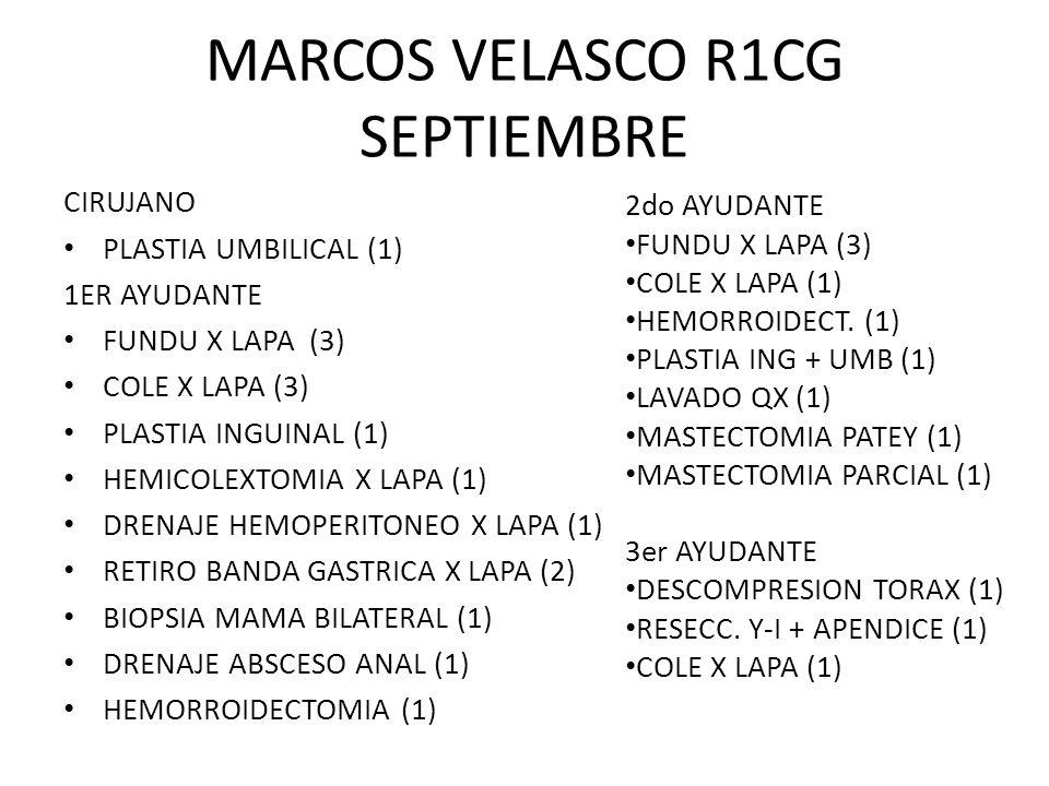 MARCOS VELASCO R1CG SEPTIEMBRE CIRUJANO PLASTIA UMBILICAL (1) 1ER AYUDANTE FUNDU X LAPA (3) COLE X LAPA (3) PLASTIA INGUINAL (1) HEMICOLEXTOMIA X LAPA