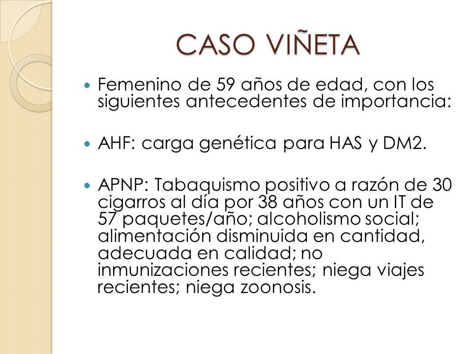 CASO VIÑETA Femenino de 59 años de edad, con los siguientes antecedentes de importancia: AHF: carga genética para HAS y DM2. APNP: Tabaquismo positivo