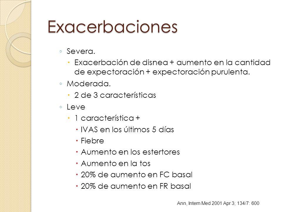 Exacerbaciones Severa. Exacerbación de disnea + aumento en la cantidad de expectoración + expectoración purulenta. Moderada. 2 de 3 características Le