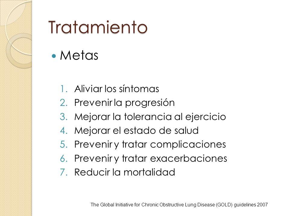 Tratamiento Metas 1.Aliviar los síntomas 2.Prevenir la progresión 3.Mejorar la tolerancia al ejercicio 4.Mejorar el estado de salud 5.Prevenir y trata