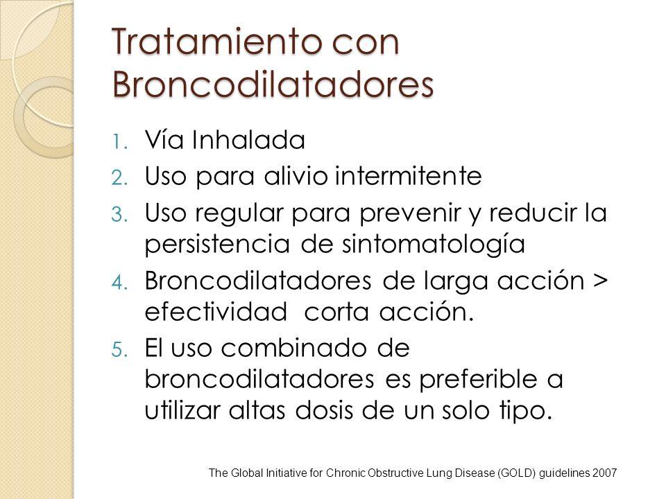 Tratamiento con Broncodilatadores 1. Vía Inhalada 2. Uso para alivio intermitente 3. Uso regular para prevenir y reducir la persistencia de sintomatol