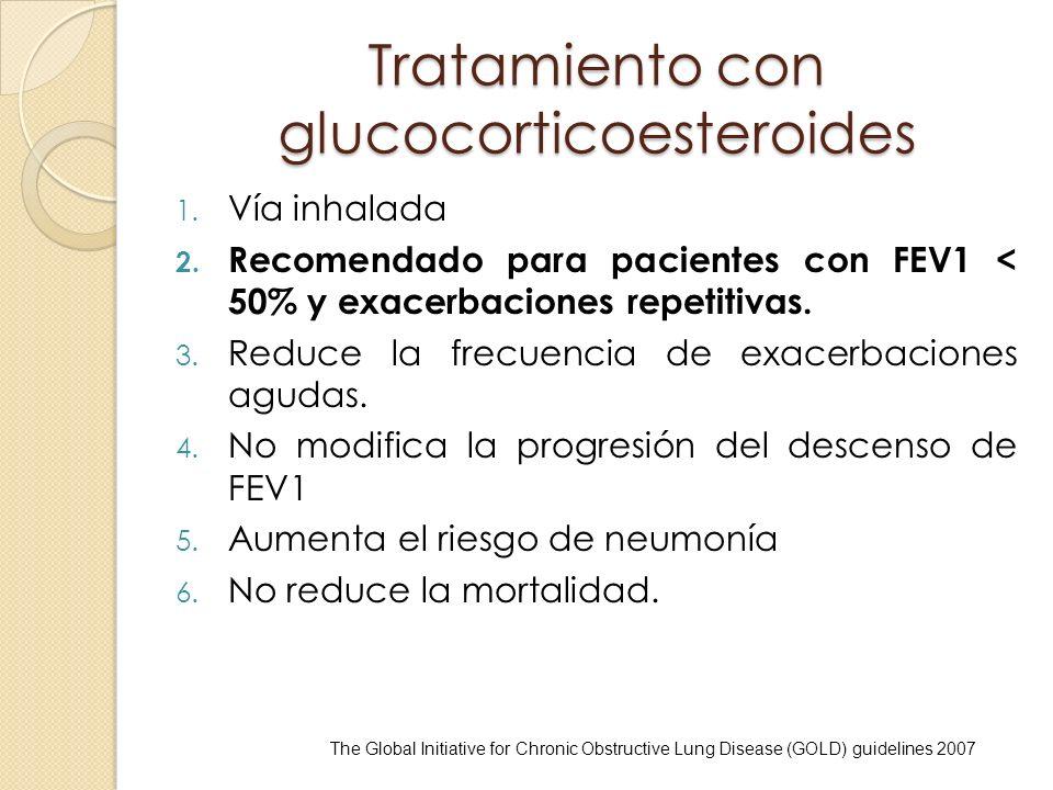 Tratamiento con glucocorticoesteroides 1. Vía inhalada 2. Recomendado para pacientes con FEV1 < 50% y exacerbaciones repetitivas. 3. Reduce la frecuen