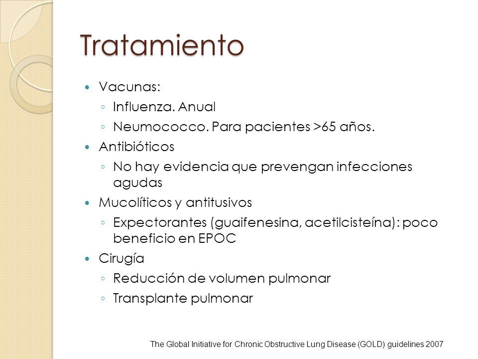 Tratamiento Vacunas: Influenza. Anual Neumococco. Para pacientes >65 años. Antibióticos No hay evidencia que prevengan infecciones agudas Mucolíticos