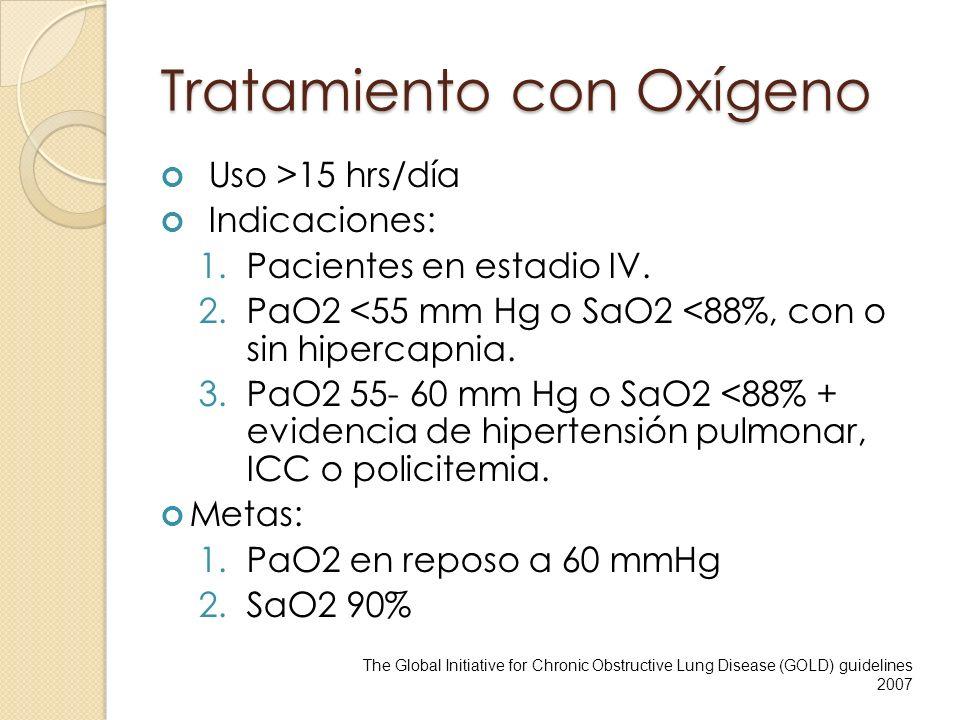 Tratamiento con Oxígeno Uso >15 hrs/día Indicaciones: 1.Pacientes en estadio IV. 2.PaO2 <55 mm Hg o SaO2 <88%, con o sin hipercapnia. 3.PaO2 55- 60 mm