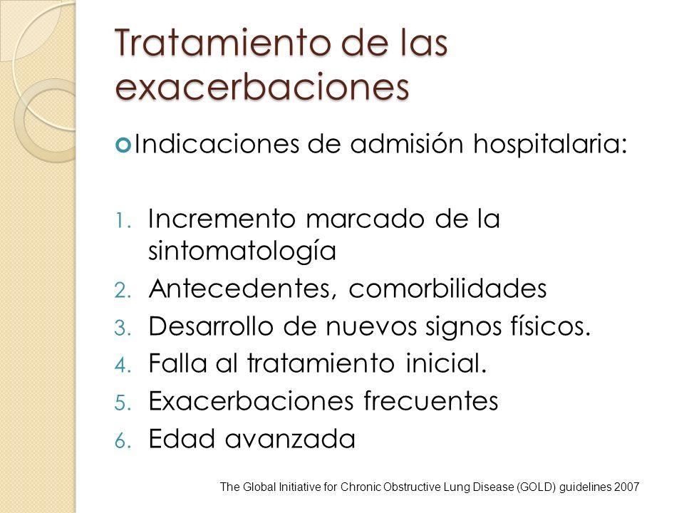 Tratamiento de las exacerbaciones Indicaciones de admisión hospitalaria: 1. Incremento marcado de la sintomatología 2. Antecedentes, comorbilidades 3.