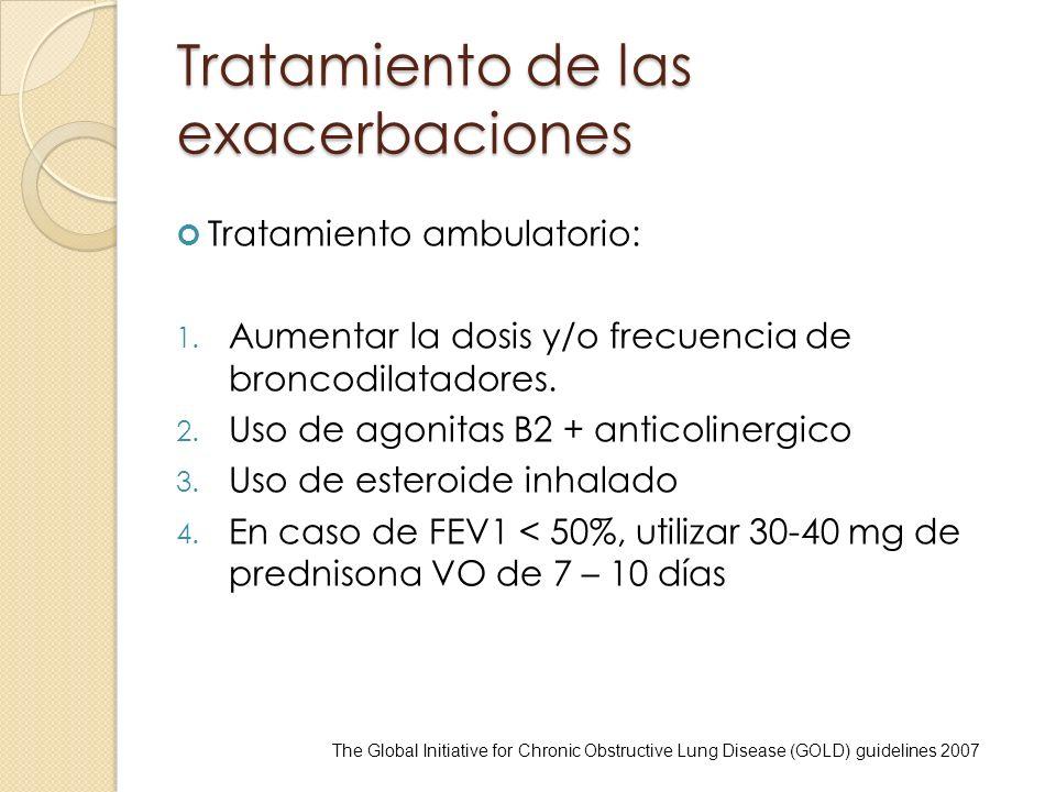 Tratamiento de las exacerbaciones Tratamiento ambulatorio: 1. Aumentar la dosis y/o frecuencia de broncodilatadores. 2. Uso de agonitas B2 + anticolin