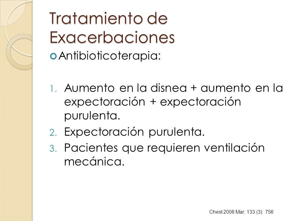 Tratamiento de Exacerbaciones Antibioticoterapia: 1. Aumento en la disnea + aumento en la expectoración + expectoración purulenta. 2. Expectoración pu