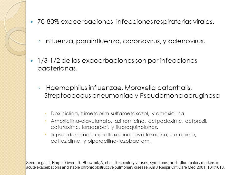70-80% exacerbaciones infecciones respiratorias virales. Influenza, parainfluenza, coronavirus, y adenovirus. 1/3-1/2 de las exacerbaciones son por in