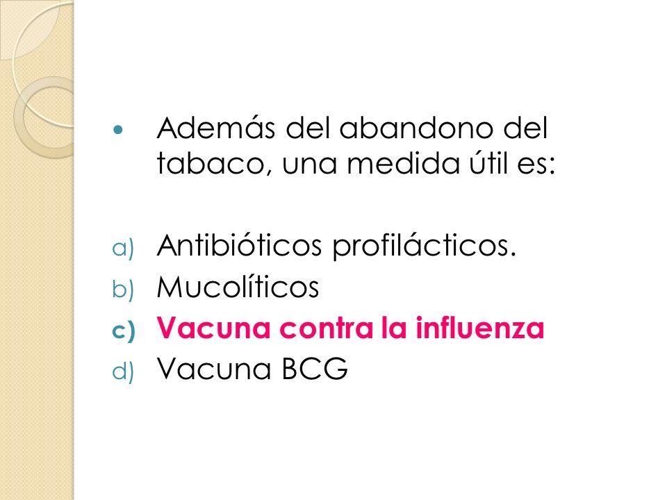 Además del abandono del tabaco, una medida útil es: a) Antibióticos profilácticos. b) Mucolíticos c) Vacuna contra la influenza d) Vacuna BCG