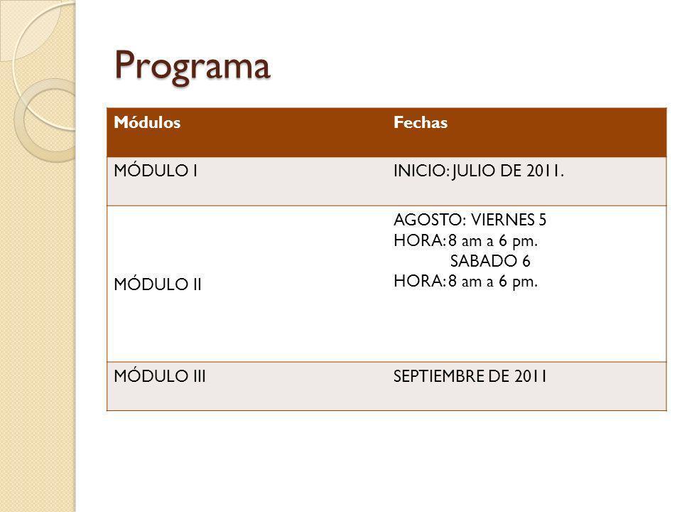 Programa MódulosFechas MÓDULO IINICIO: JULIO DE 2011. MÓDULO II AGOSTO: VIERNES 5 HORA: 8 am a 6 pm. SABADO 6 HORA: 8 am a 6 pm. MÓDULO IIISEPTIEMBRE