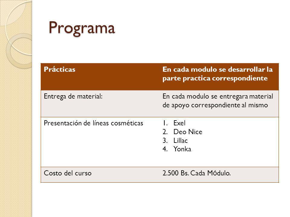 Programa Pr á cticasEn cada modulo se desarrollar la parte practica correspondiente Entrega de material:En cada modulo se entregara material de apoyo