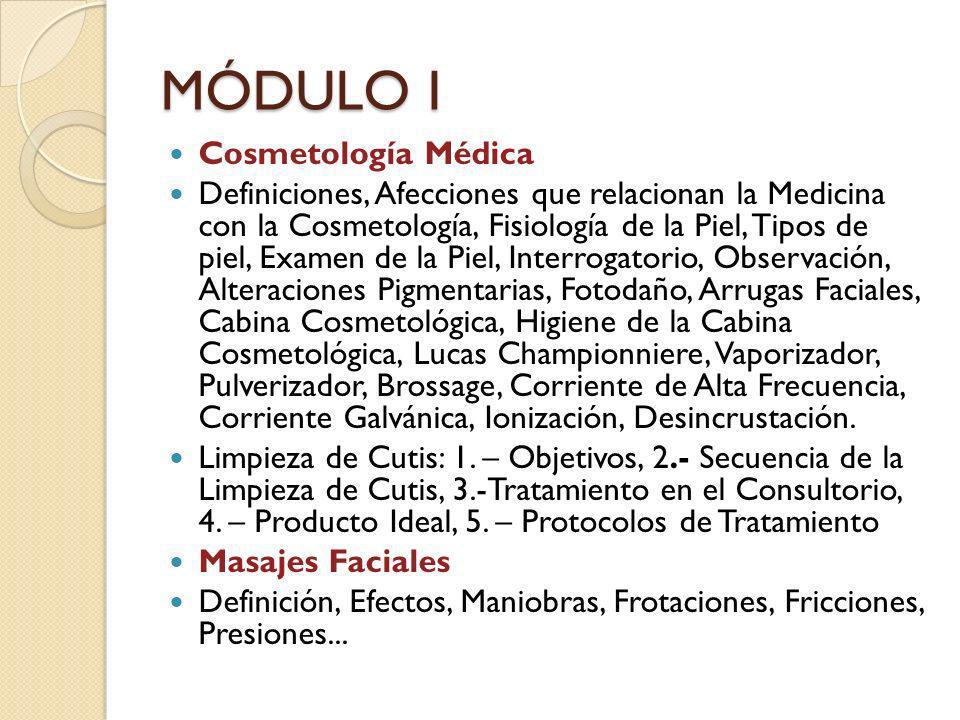 MÓDULO I Cosmetología Médica Definiciones, Afecciones que relacionan la Medicina con la Cosmetología, Fisiología de la Piel, Tipos de piel, Examen de