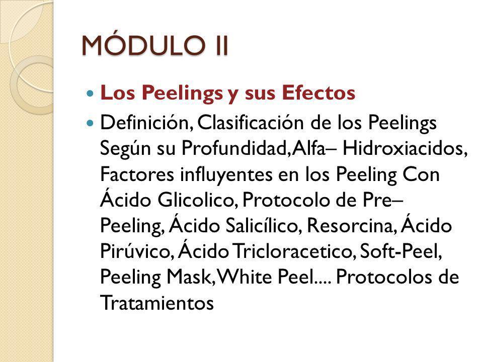 MÓDULO II Los Peelings y sus Efectos Definición, Clasificación de los Peelings Según su Profundidad, Alfa– Hidroxiacidos, Factores influyentes en los