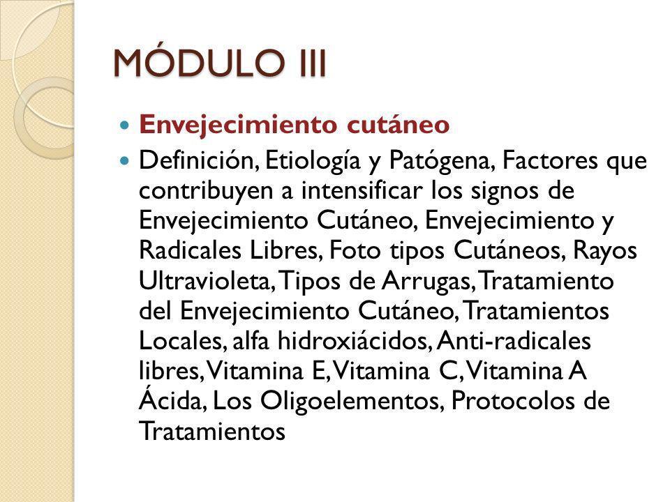 MÓDULO III Envejecimiento cutáneo Definición, Etiología y Patógena, Factores que contribuyen a intensificar los signos de Envejecimiento Cutáneo, Enve
