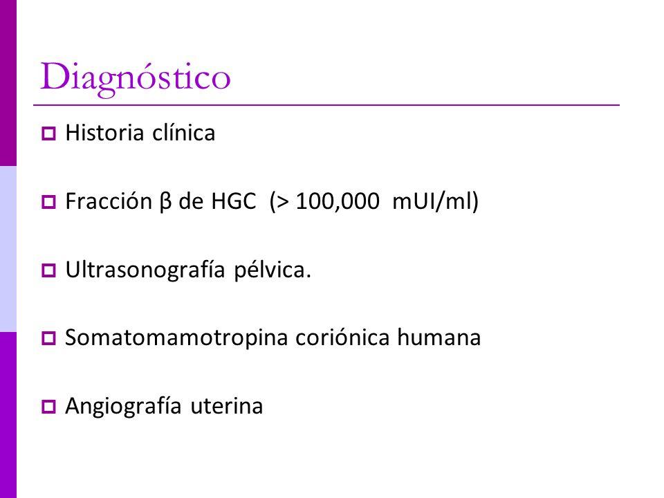 Diagnóstico Historia clínica Fracción β de HGC (> 100,000 mUI/ml) Ultrasonografía pélvica. Somatomamotropina coriónica humana Angiografía uterina