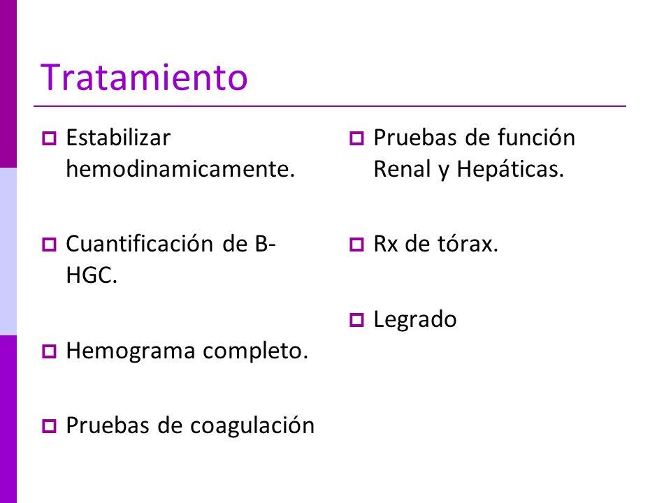 Tratamiento Estabilizar hemodinamicamente. Cuantificación de B- HGC. Hemograma completo. Pruebas de coagulación Pruebas de función Renal y Hepáticas.