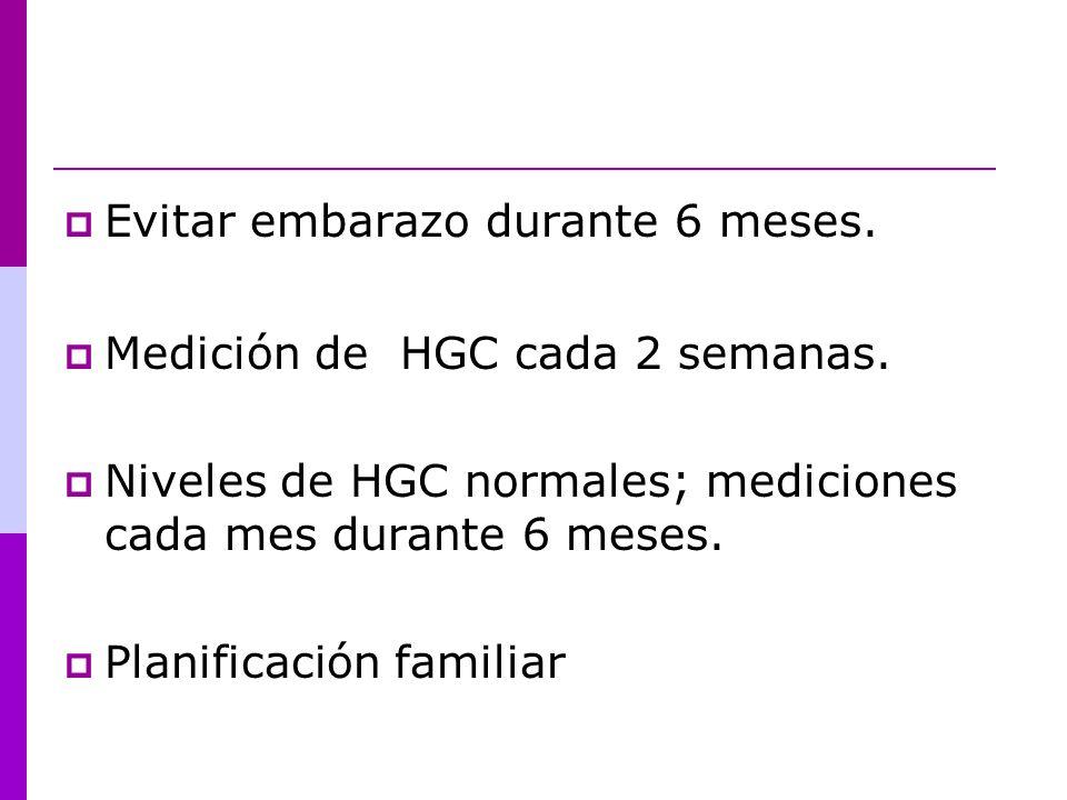 Evitar embarazo durante 6 meses. Medición de HGC cada 2 semanas. Niveles de HGC normales; mediciones cada mes durante 6 meses. Planificación familiar