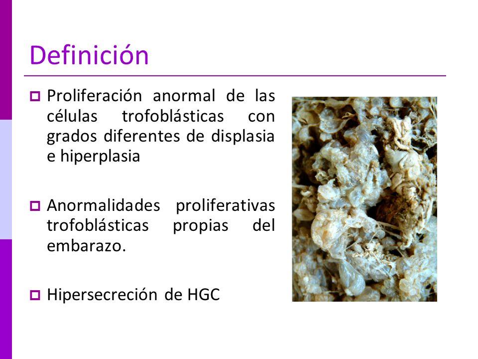 Definición Proliferación anormal de las células trofoblásticas con grados diferentes de displasia e hiperplasia Anormalidades proliferativas trofoblás