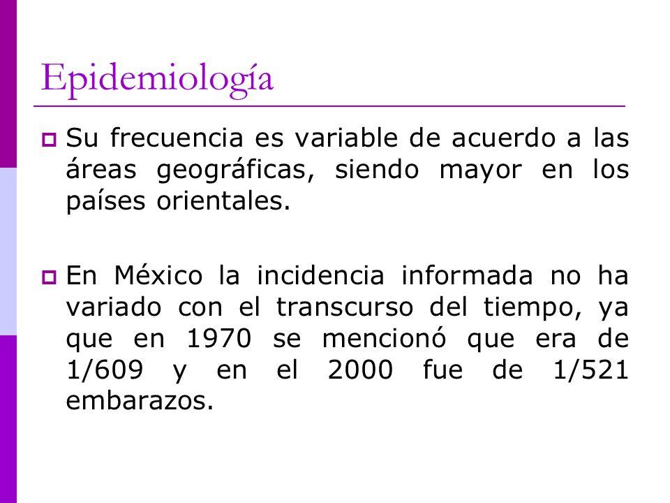 Epidemiología Su frecuencia es variable de acuerdo a las áreas geográficas, siendo mayor en los países orientales. En México la incidencia informada n