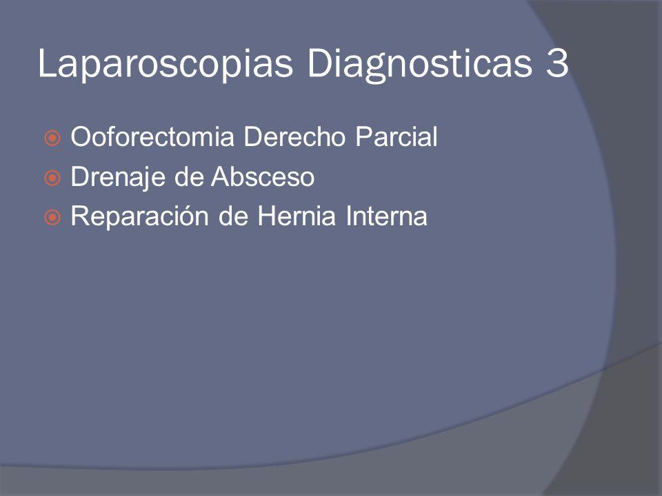 Laparoscopias Diagnosticas 3 Ooforectomia Derecho Parcial Drenaje de Absceso Reparación de Hernia Interna