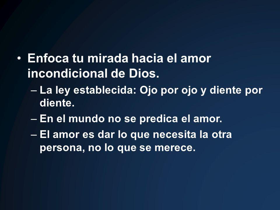 Enfoca tu mirada hacia el amor incondicional de Dios.