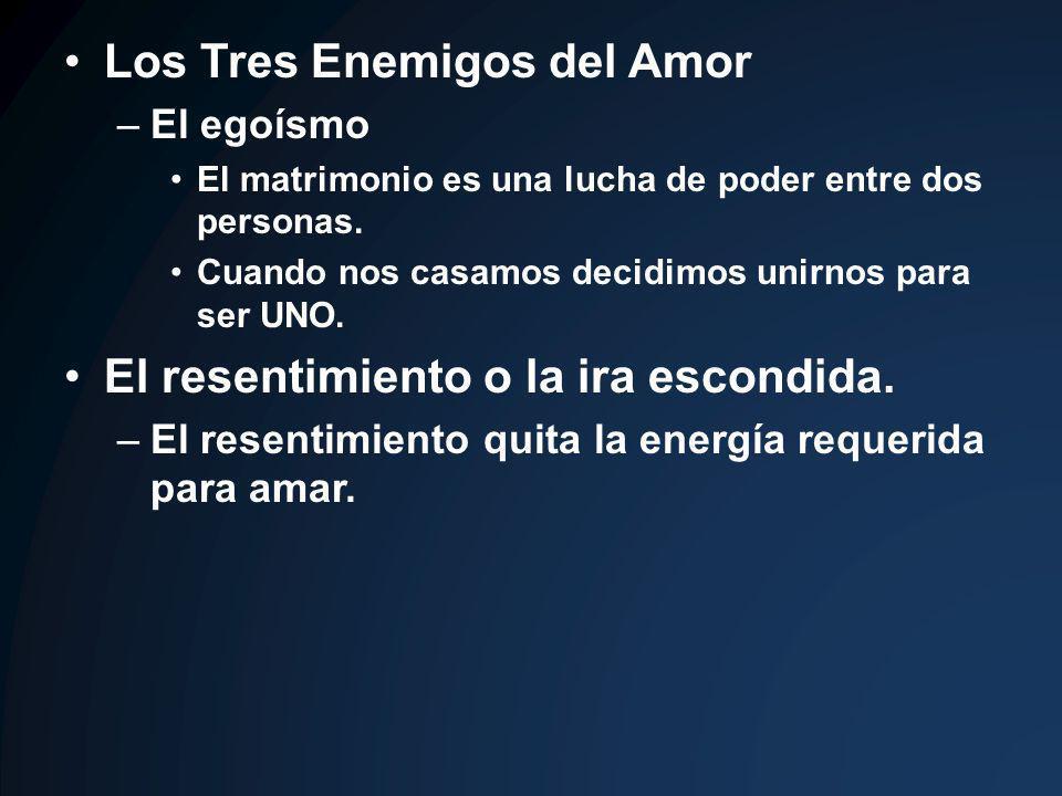 Los Tres Enemigos del Amor –El egoísmo El matrimonio es una lucha de poder entre dos personas. Cuando nos casamos decidimos unirnos para ser UNO. El r