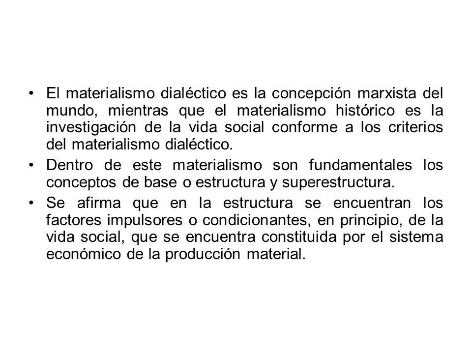 El materialismo dialéctico es la concepción marxista del mundo, mientras que el materialismo histórico es la investigación de la vida social conforme