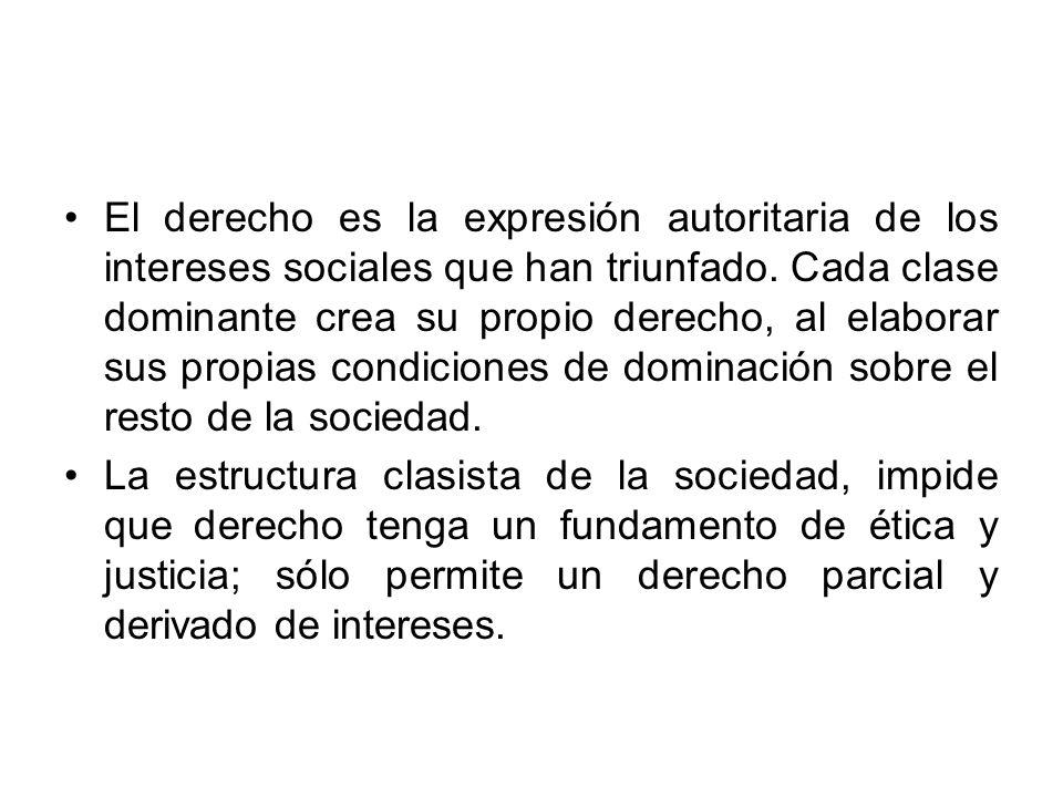 El derecho es la expresión autoritaria de los intereses sociales que han triunfado. Cada clase dominante crea su propio derecho, al elaborar sus propi