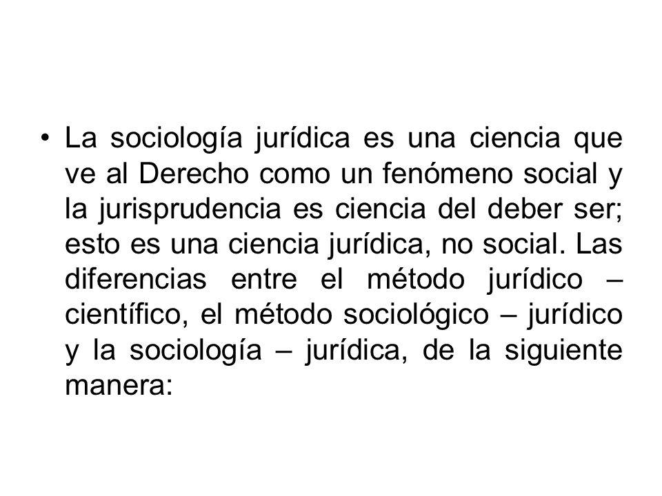 La sociología jurídica es una ciencia que ve al Derecho como un fenómeno social y la jurisprudencia es ciencia del deber ser; esto es una ciencia jurí