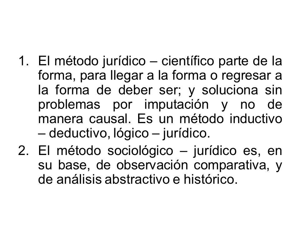 1.El método jurídico – científico parte de la forma, para llegar a la forma o regresar a la forma de deber ser; y soluciona sin problemas por imputaci