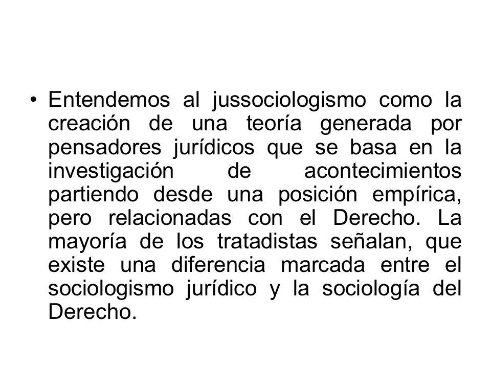 Entendemos al jussociologismo como la creación de una teoría generada por pensadores jurídicos que se basa en la investigación de acontecimientos part