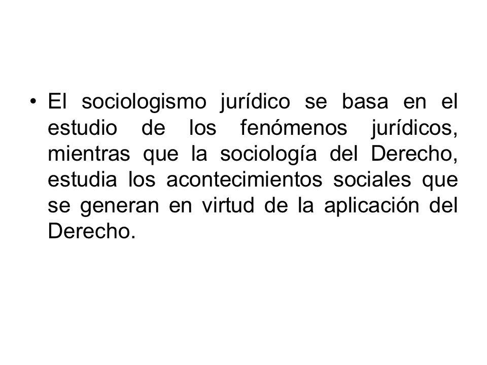 El sociologismo jurídico se basa en el estudio de los fenómenos jurídicos, mientras que la sociología del Derecho, estudia los acontecimientos sociale