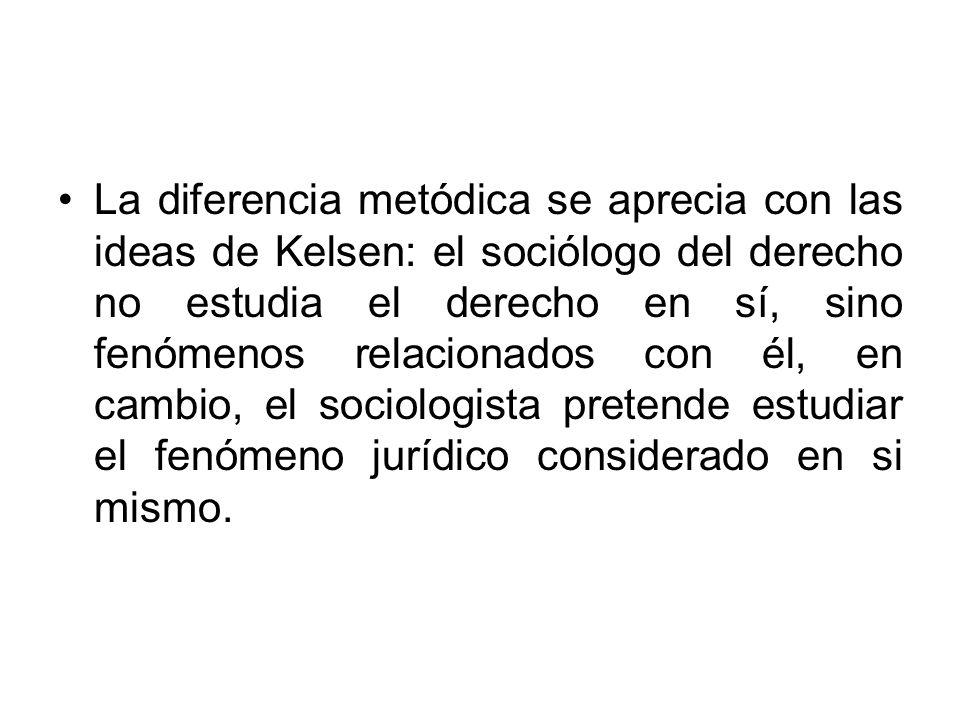 La diferencia metódica se aprecia con las ideas de Kelsen: el sociólogo del derecho no estudia el derecho en sí, sino fenómenos relacionados con él, e