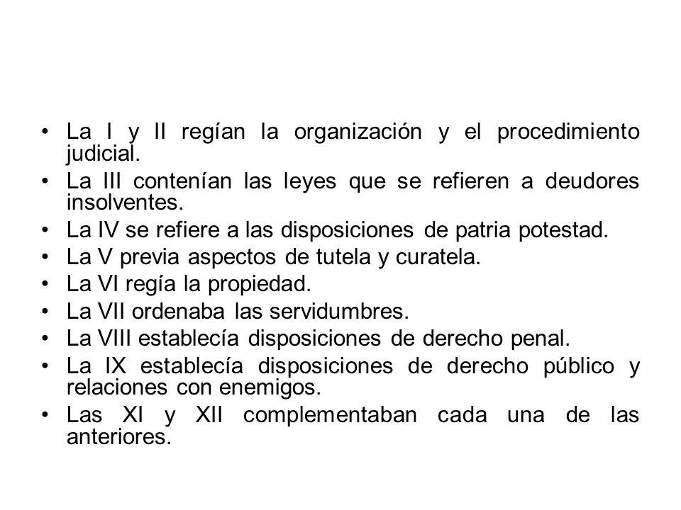 La I y II regían la organización y el procedimiento judicial. La III contenían las leyes que se refieren a deudores insolventes. La IV se refiere a la