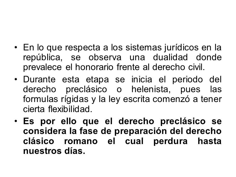 En lo que respecta a los sistemas jurídicos en la república, se observa una dualidad donde prevalece el honorario frente al derecho civil. Durante est