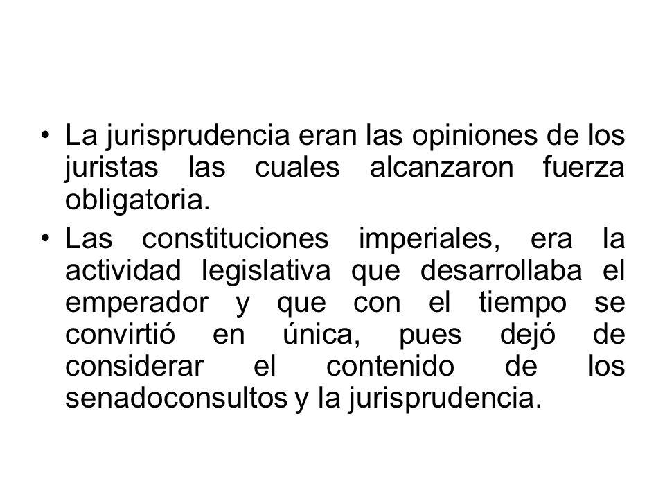 La jurisprudencia eran las opiniones de los juristas las cuales alcanzaron fuerza obligatoria. Las constituciones imperiales, era la actividad legisla
