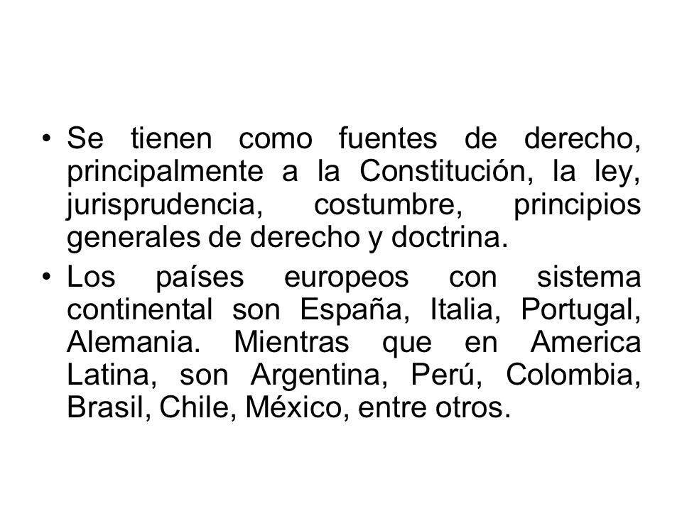 Se tienen como fuentes de derecho, principalmente a la Constitución, la ley, jurisprudencia, costumbre, principios generales de derecho y doctrina. Lo