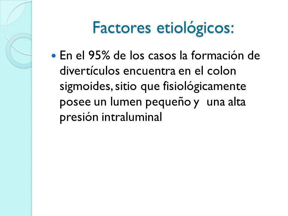 Factores etiológicos: En el 95% de los casos la formación de divertículos encuentra en el colon sigmoides, sitio que fisiológicamente posee un lumen p