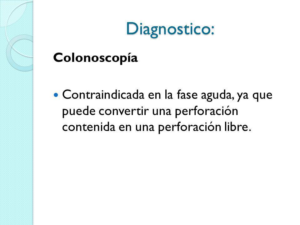 Diagnostico: Colonoscopía Contraindicada en la fase aguda, ya que puede convertir una perforación contenida en una perforación libre.
