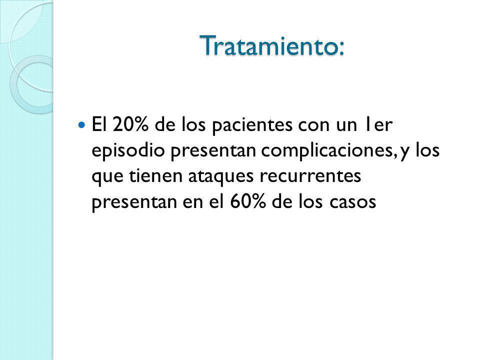 Tratamiento: El 20% de los pacientes con un 1er episodio presentan complicaciones, y los que tienen ataques recurrentes presentan en el 60% de los cas