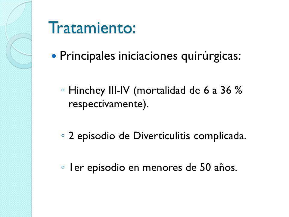 Tratamiento: Principales iniciaciones quirúrgicas: Hinchey III-IV (mortalidad de 6 a 36 % respectivamente). 2 episodio de Diverticulitis complicada. 1