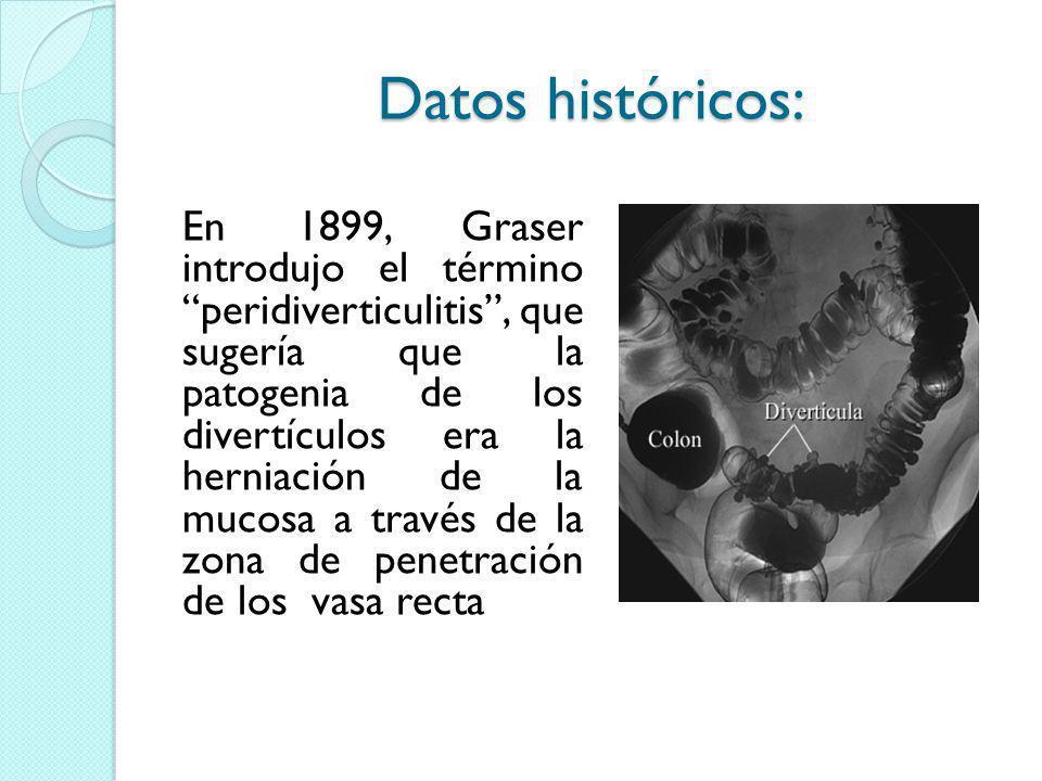 Datos históricos: En 1899, Graser introdujo el término peridiverticulitis, que sugería que la patogenia de los divertículos era la herniación de la mu