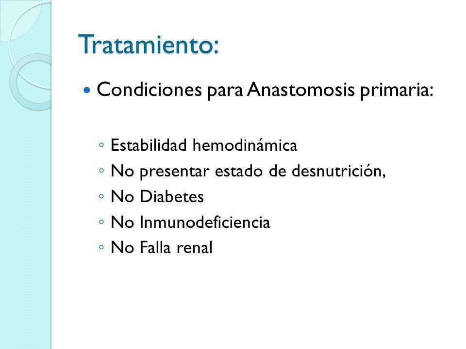 Tratamiento: Condiciones para Anastomosis primaria: Estabilidad hemodinámica No presentar estado de desnutrición, No Diabetes No Inmunodeficiencia No