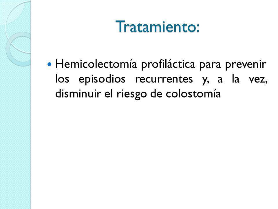 Tratamiento: Hemicolectomía profiláctica para prevenir los episodios recurrentes y, a la vez, disminuir el riesgo de colostomía